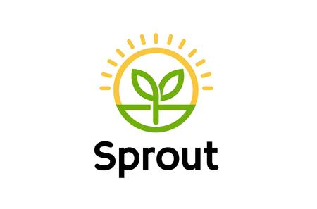 Sprout Leaf Sun Logo Symbol Design Illustration
