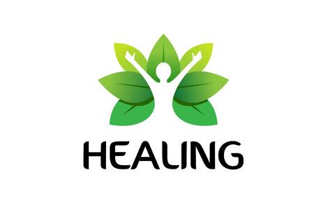 Healing Body Leaves Logo Symbol Design Illustration
