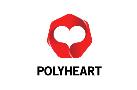 Polygon Heart Logo Design Illustration Ilustração