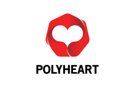 Polygon Heart Logo Design Illustration Stock Illustratie