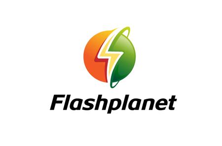Flash Planet Logo Design Illustration Illustration
