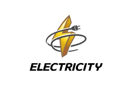 Electricity Symbol Logo Design Illustration  イラスト・ベクター素材