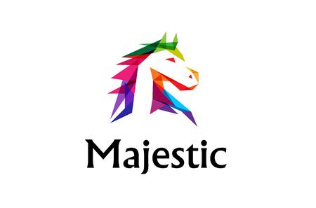 Colorful Horse Head Logo Design Illustration Ilustração