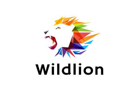 Colorful Lion Head Logo Design Illustration Ilustração