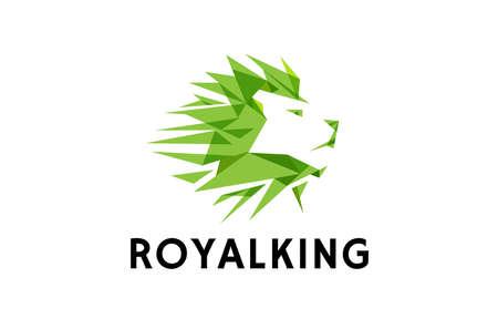 Green Lion Head Logo Design Illustration Ilustração