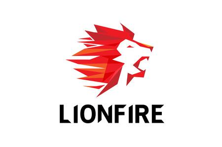 Red Lion Head Logo Symbol Design Illustration
