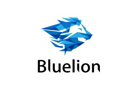 Blue Colorful Lion Head Logo Design Illustration