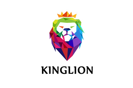 Colorful Lion Head Logo Design Illustration Ilustração