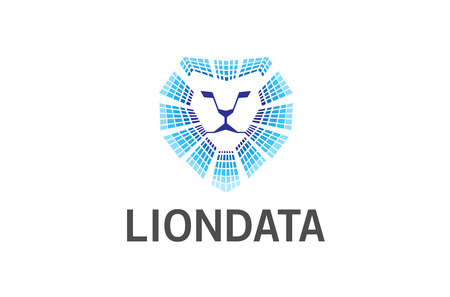 Lion Head Technology Logo Design Illustration