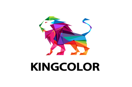 Colorful Lion body Logo Design Illustration