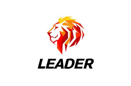 Red Lion Head Logo Design Illustration