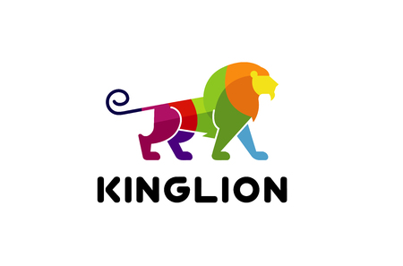 Creative Abstract Colorful Lion Logo Design Illustration
