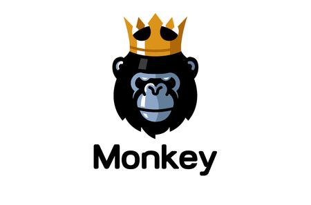 Creative King Gorilla Head Logo Design Illustration