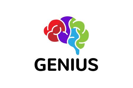 Creative Colorful Brain Logo Design Illustration