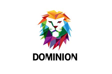 創造的な抽象的なカラフルなライオン ヘッドのロゴの設計図