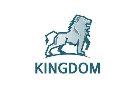 Creative Abstract Silver Lion Logo Design Illustration