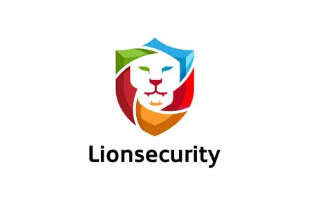 Creative Abstract Colorful Lion Shield Logo Design Illustration  イラスト・ベクター素材