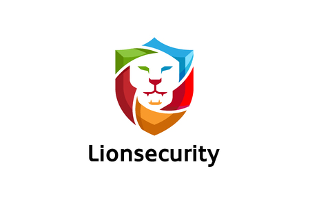 Creative Abstract Colorful Lion Shield Logo Design Illustration Illustration