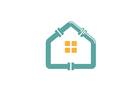 Blue House Plumbing Roof Logo Design Symbol Illustration