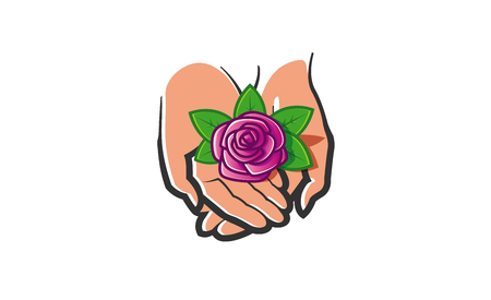 Nature Hands Rose Logo