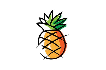 Creative Artistic Pineapple Fruit Logo Illustration