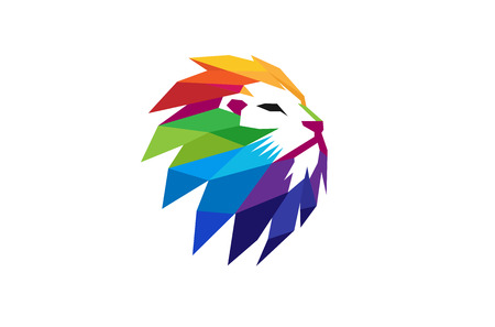 Colorful Creative Lion Head Symbol Design Illustration. Ilustração
