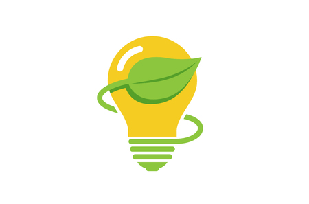Creative Green Bulb Lamp Energy Logo Иллюстрация