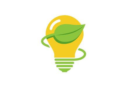 Creative Green Bulb Lamp Energy Logo Vectores