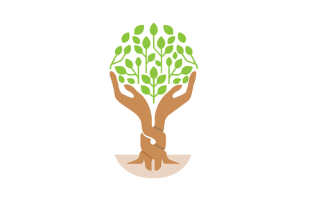 Creative Two Hands Tree Balance Logo Design Symbol Illustration