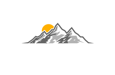 Creative Mountains Sunrise Logo Banco de Imagens - 95323764