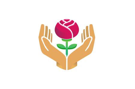 Hands Holding Red Rose Flower Care Logo Design Symbol Illustration Illustration