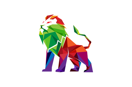 Creative abstract colorful lion icon design illustration.
