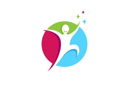 Creative Jumping Happy Person Freedom Metaphor Gift Hope Logo Design Symbol Illustration  イラスト・ベクター素材