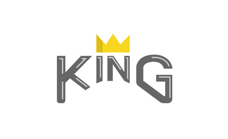 King Typography Gold Crown Text Logo Design Symbol Illustration