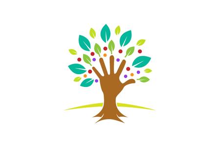 Creative Green Hand Tree Logo Design Symbol Illustration