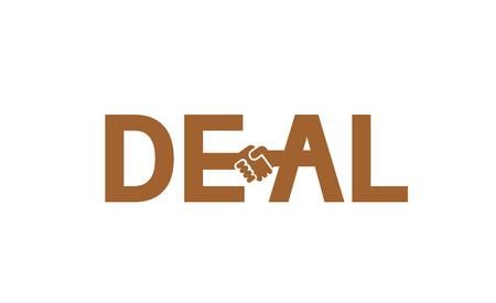 Creative Deal Handshake Typography Letter Logo Design Symbol Illustration Stock Illustratie