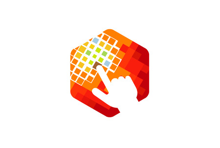 Creative digital hexagon hand icon.