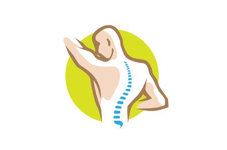 Chiropractic Body Circle Spine Logo Vector illustration.