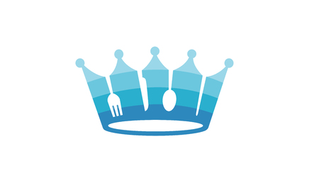 King Crown Blue Food Symbol Design Illustration