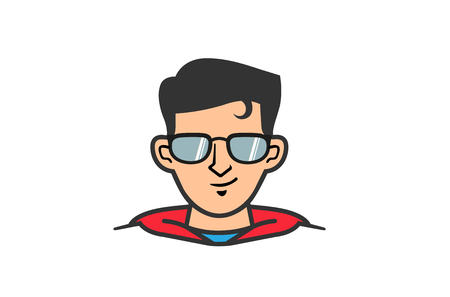 Super Hero Geek Head Design Illustration Çizim