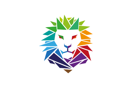 Colorful Lion Head icon Design Illustration Ilustração