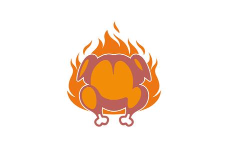 Illustration de conception d & # 39; icône de poulet chaud