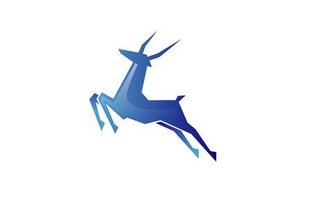 Creative Abstract Blue Gazelle Technology icon Design Illustration