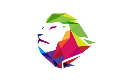 Creative Colorful Lion Head  icon Design Illustration