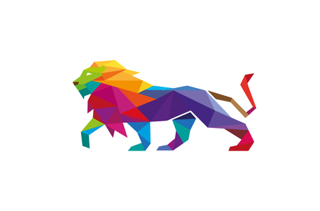Creative Abstract Colorful Lion icon Design Illustration