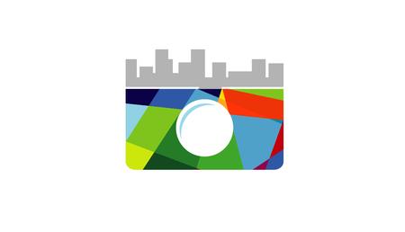 Creative Abstract Camera Building Symbol icon Design Illustration