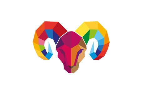 Polygonal Ram Head icon Design Illustration Illustration