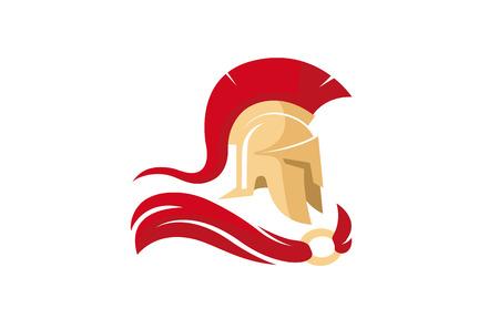 Ilustracja kreatywnych spartańskich hełmów