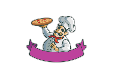 Colorful Purple Ribbon Chef Pizza icon design illustration
