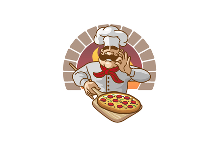 Chef Pizza icon design illustration